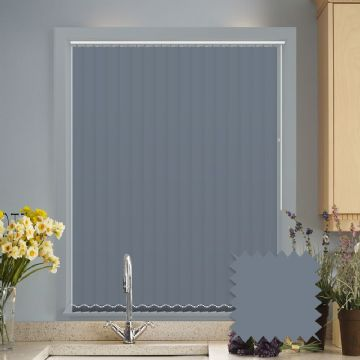 Made to measure vertical blinds in Splash Sonar Navy Blue plain fabric